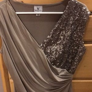 Sequin and Shiny Brown/Gray Top